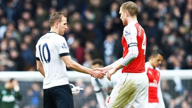 Harry Kane and Per Mertesacker shake hands after Arsenal's 2-2 draw at Tottenham on March 5