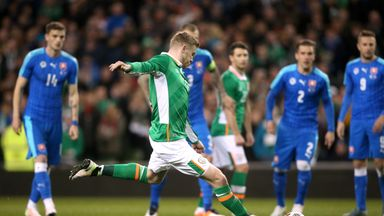 James McClean scores his side's second goal of the game from the penalty spot