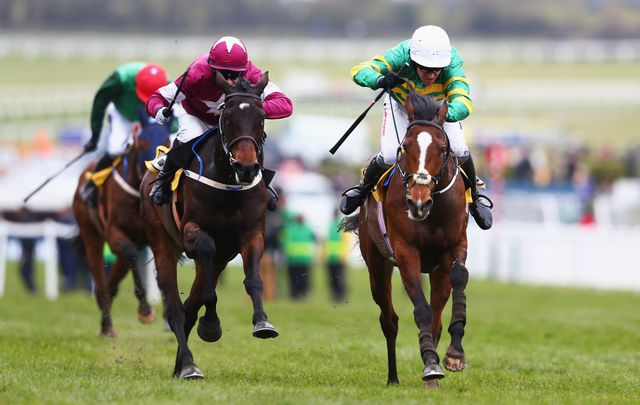 Barry Geraghty guides Ivanovich Gorbatov (right) home in front in the JCB Triumph Hurdle