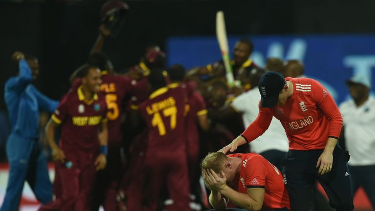 England's Ben Stokes is consoled by captain Eoin Morgan after defeat in the World T20 final