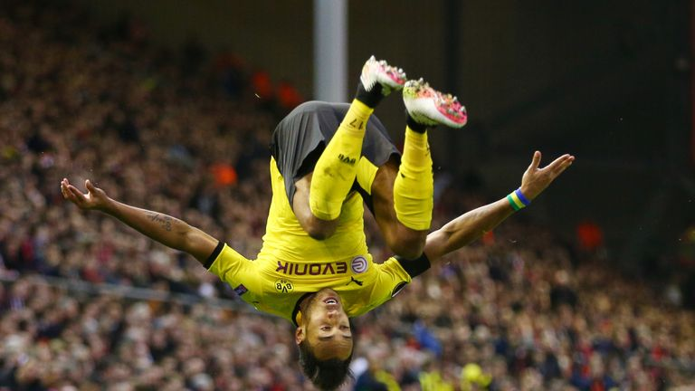 Aubameyang celebrated his goal at Anfield in style