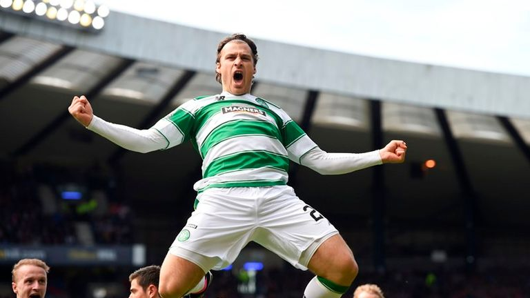 Erik Sviatchenko celebrates after equalising for Celtic