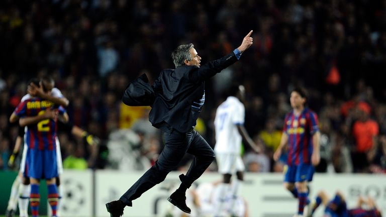 Mourinho celebrates Inter Milan's aggregate win over Barcelona