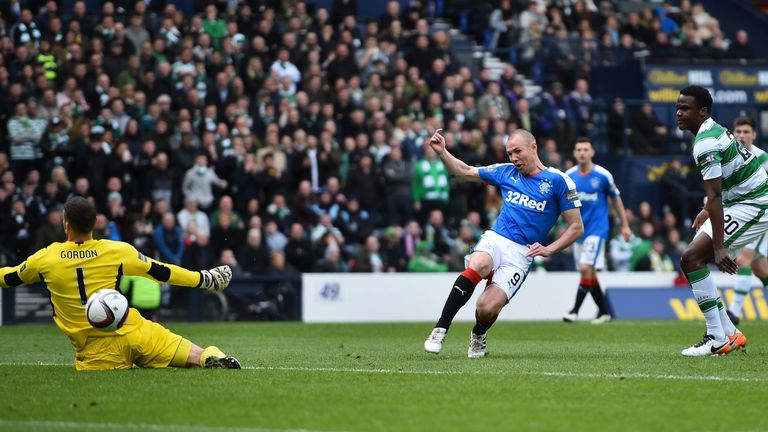 Rangers' Kenny Miller breaks the deadlock against Celtic at Hampden Park