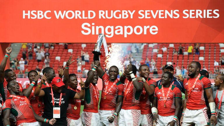 Kenya celebrate after defeating Fiji in the 2016 Singapore Sevens Cup Final