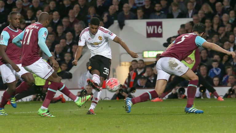 Marcus Rashford scores the opener for Man Utd against West Ham on Wednesday