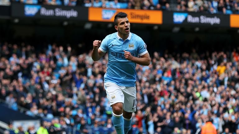 Sergio Aguero scored 24 goals from 29 starts