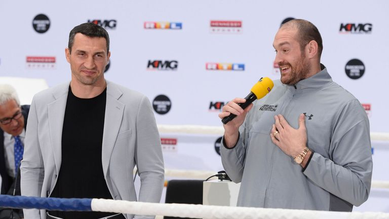 Tyson Fury (R) and Klitschko are preparing for a Manchester rematch