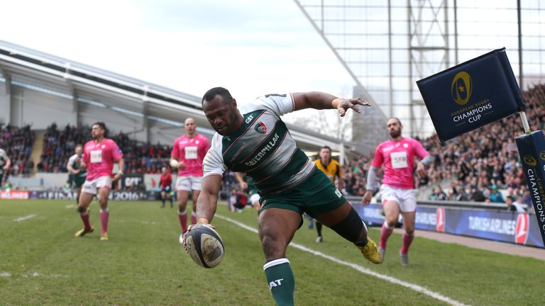 Vereniki  Goneva scores his second and Leicester's fourth try