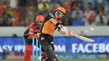 Sunrisers Hyderabad captain David Warner hits out on his way to another IPL fifty
