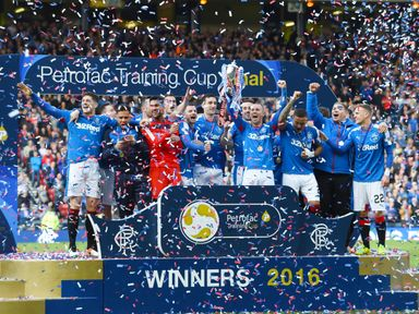 Rangers celebrates winning the Scottish Challenge Cup last season