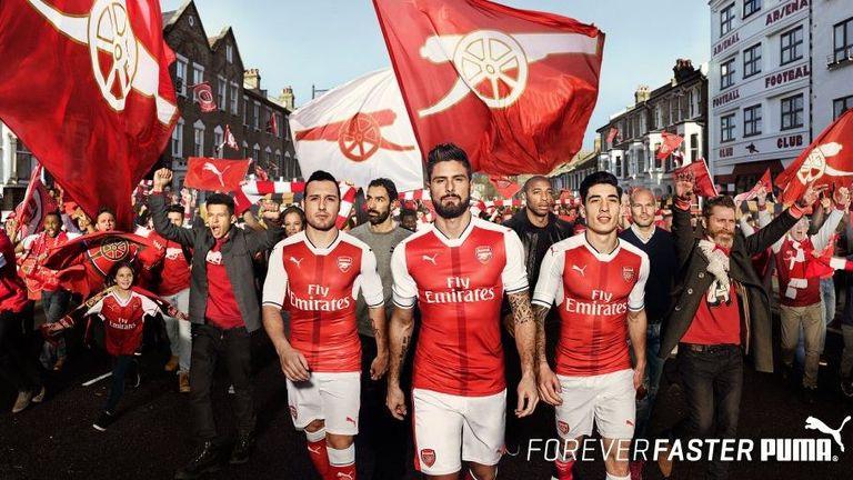 Arsenal players model their 2016/17 kit (image c/o Puma)