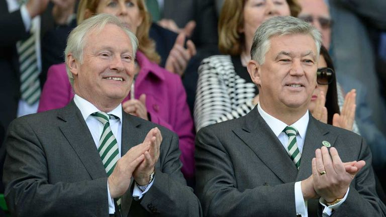 Ian Bankier (left) and chief executive Peter Lawwell are delighted to land such a 'special' manager