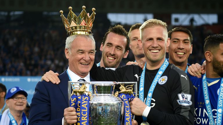 Image result for Claudio Ranieri with Premier League trophy