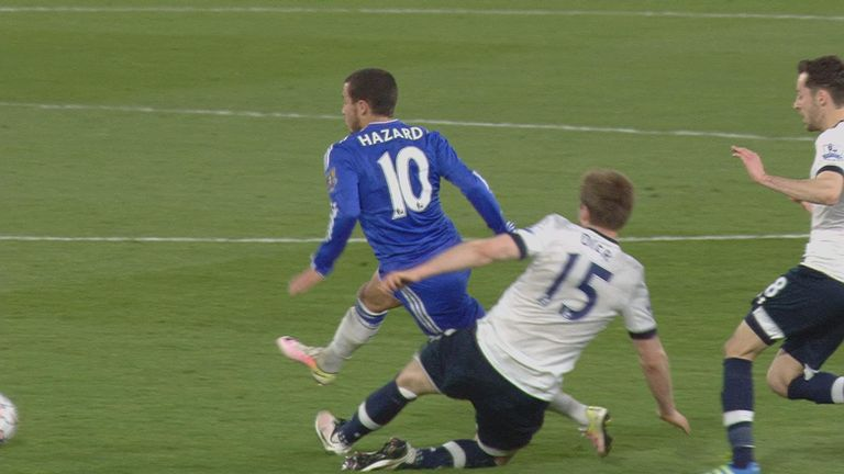 Eric Dier was booked for his foul on Eden Hazard