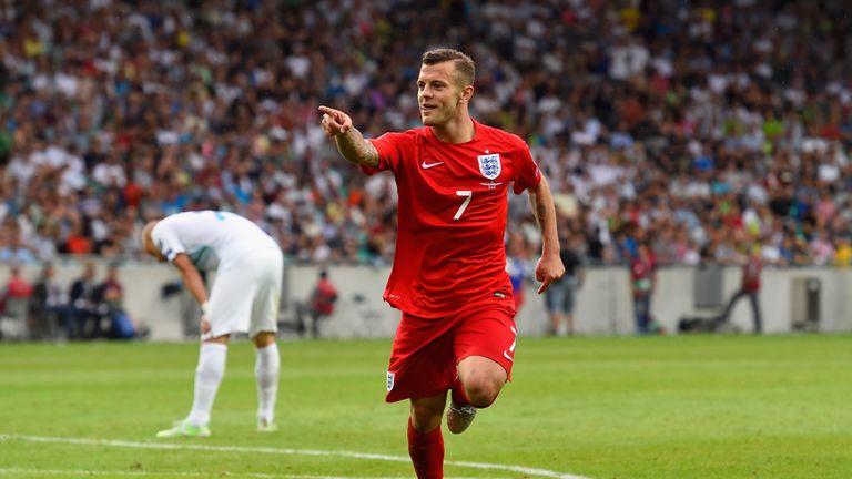 Jack Wilshere celebrates scoring for England in qualifying