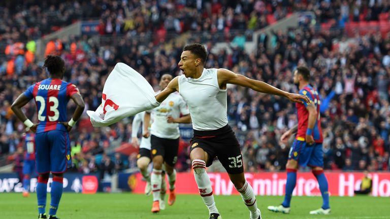 Lingard celebrates after scoring Manchester United's FA Cup final winner