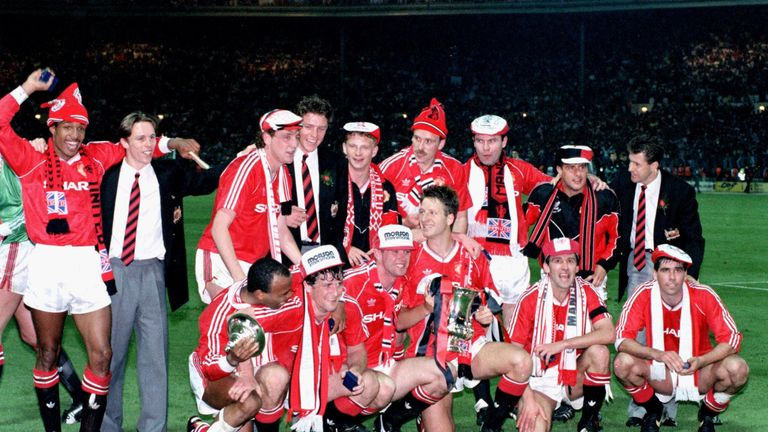 Mark Robins and Mark Hughes were in Manchester United's FA Cup winning side of 1990