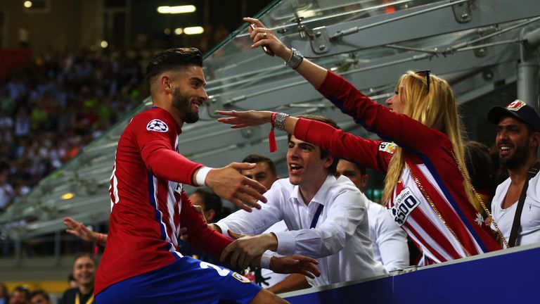 Yannick Carrasco celebrates with a kiss after equalising for Atletico Madrid in the Champions League final against Real Madrid