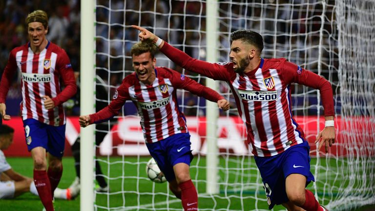 Yannick Ferreira-Carrasco (R) equalised for Atletico