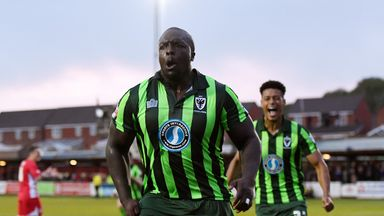 Adebayo Akinfenwa has made over 80 appearances for AFC Wimbledon since joining from Gillingham in 2014
