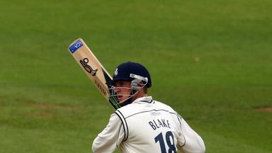 Alex Blake faced three balls - and each went for six