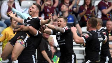 Hull FC's Curtis Naughton celebrates scoring against Hull KR in Magic Weekend 2016
