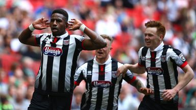 Grimsby's Omar Bogle (left) has won PFA Fans' Sky Bet League Two Player of the Month award