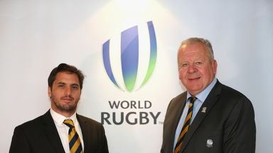 Agustin Pichot (l) pictured with Bill Beaumont who himself is at No 4 in the list of most influential figures in rugby union
