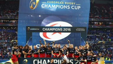 Saracens players celebrate after winning the Champions Cup final match between Racing 92 and Saracens