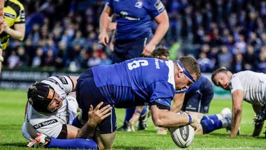Sean Cronin scores a try for Leinster in the Guinness PRO12 play-off semi-final against Ulster