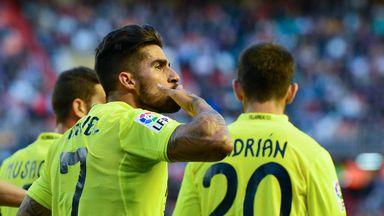 Samuel Garcia celebrates his goal for Villarreal at Valencia