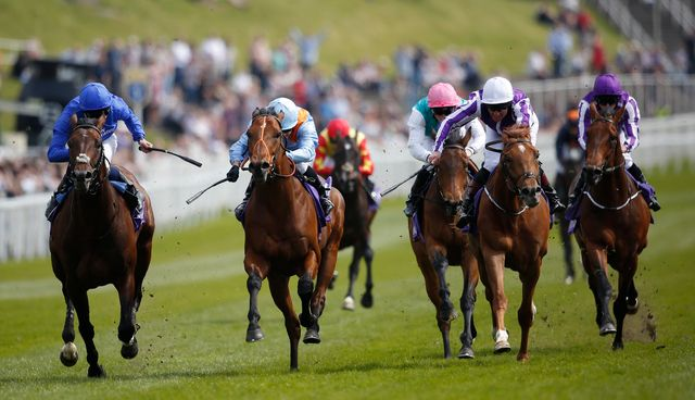 Viren's Army and Silvestre De Sousa (second left) just get the better of Linguistic (left) to win the Betdaq Dee Stakes at Chester.