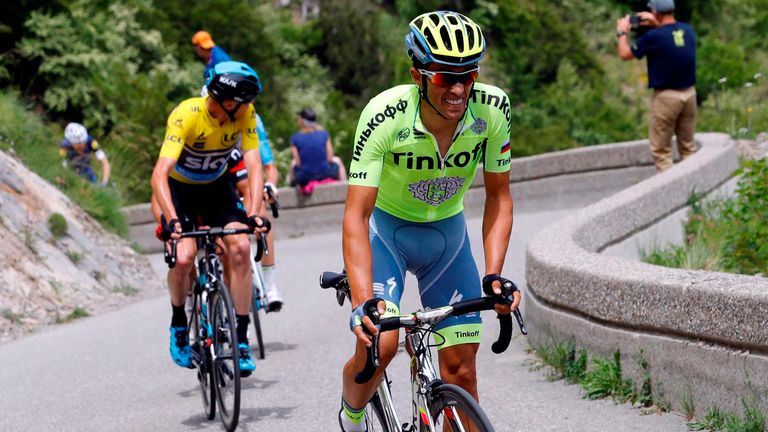 Contador (right) repeatedly attacked Froome on the penultimate climb