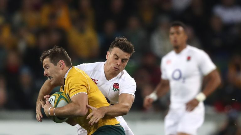 George Ford tackles Bernard Foley during England's series whitewash of Australia in June