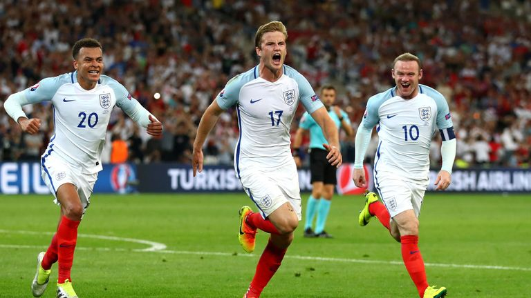 Eric Dier celebrates scoring for England from a free-kick