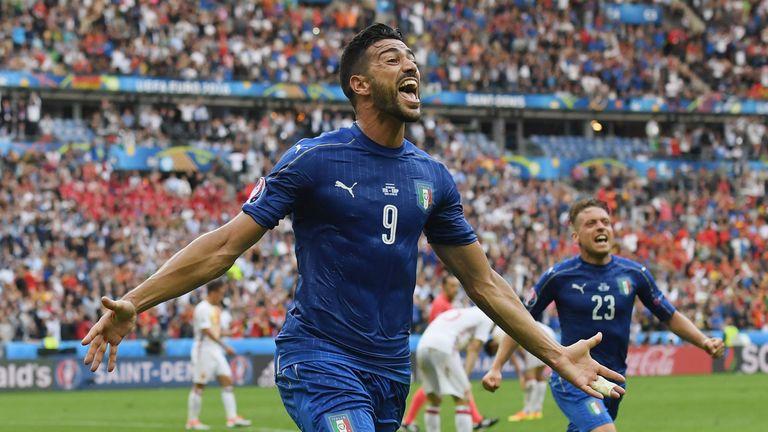Graziano Pelle of Italy celebrates scoring his team's second goal in Paris