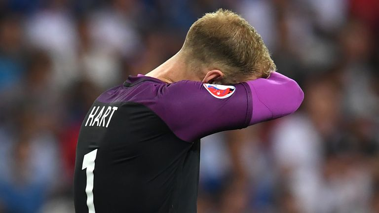 Joe Hart allowed Sigthorsson's shot to put Iceland in front after 18 minutes