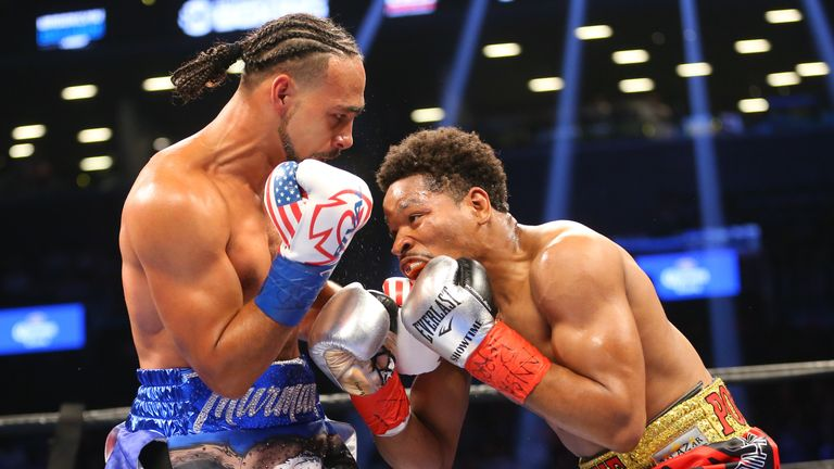 Thurman (L) and Porter during their tenacious  12-round battle in New York