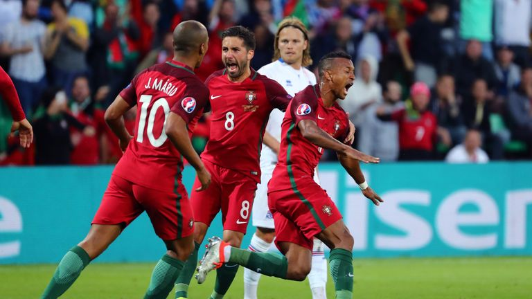Nani celebrates his goal just after the half-hour mark