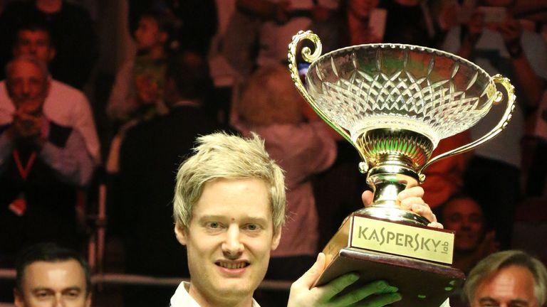 Neil Robertson celebrates his Riga Masters success