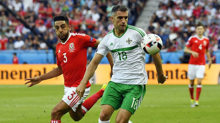 Aaron Hughes in action action against Wales during  the Euro 2016 finals