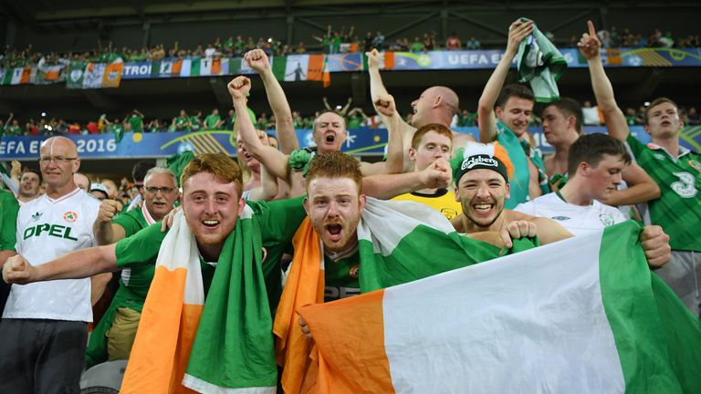 Ireland supporters celebrate their team's 1-0 win over Italy on Wednesday night