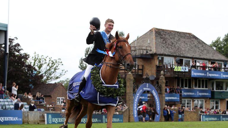 William Whitaker, riding Glenavadra Brilliant, celebrates his Hickstead Derby win