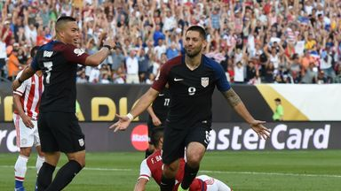 USA's Clint Dempsey celebrates after scoring against Paraguay