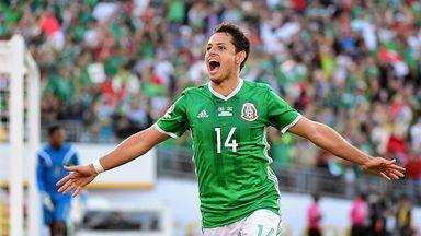 Javier Hernandez celebrates his opener in Mexico's 2-0 win against Costa Rica