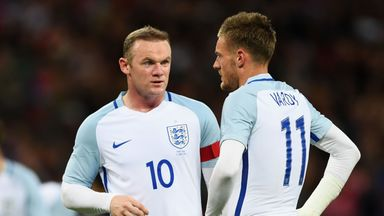 Hodgson was left bemused by suggestions of a rift between Rooney (left) and Vardy