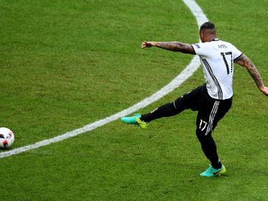 Jerome Boateng opens the scoring for Germany over Slovakia