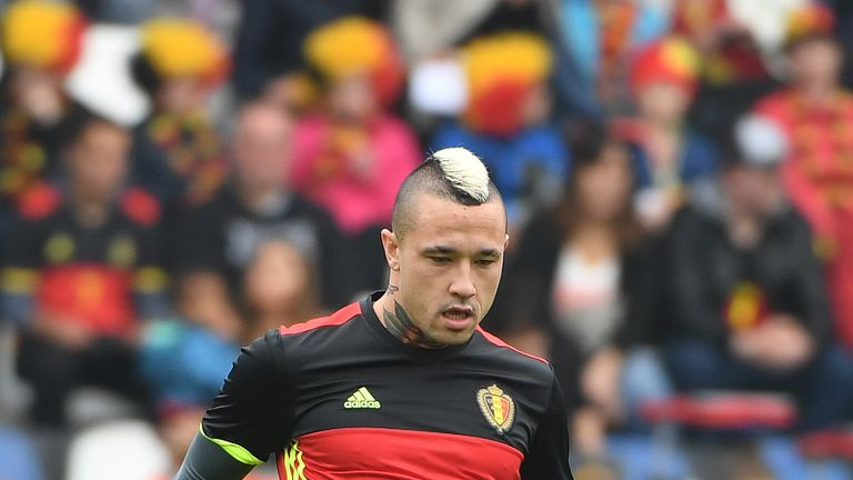Belgium football player Radja Nainggolan takes part in a training session ahead of the upcoming Euro 2016 UEFA European Championship, in Genk, on June 2, 2