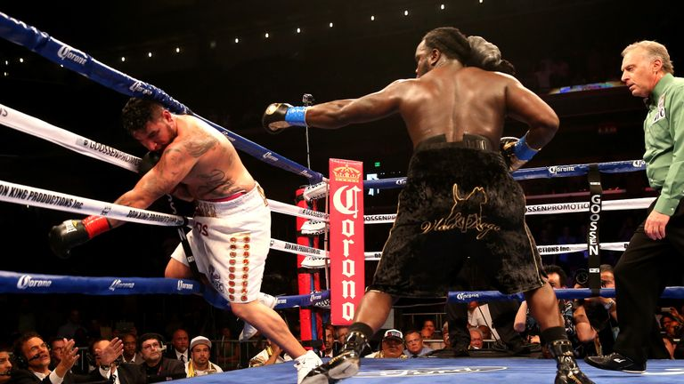 Stiverne (right) beat Chris Arreola to win the WBC heavyweight title in 2014